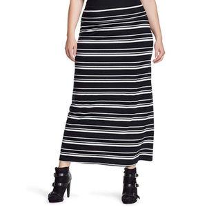 Ava & Viv Maxi Knit Black White Skirt Plus Size 4X
